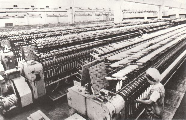 Production of glass fibers in the national company Vertex in Litomyšl, district of Svitavy (1976).
